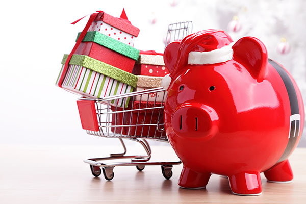 holiday piggie bank with presents